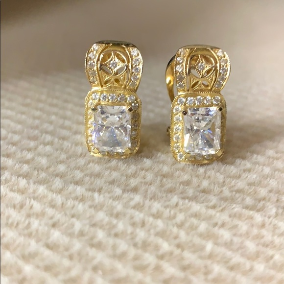 Saks Brand 14K Gold Earrings with CZ Crystals